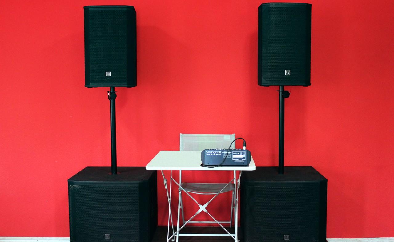 Аренда звукового комплекта 2xEV EKX12p+2xEV EKX18sp+микшерный пульт в Украине