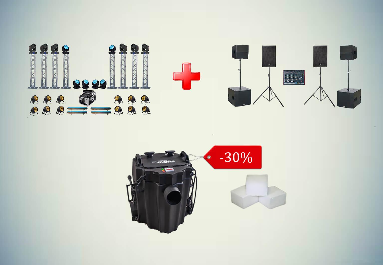 При заказе Светового комплекта №4 + Звукового комплекта №5, -30% на Низкий дым